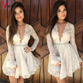 Fashion 2016 Cheap Cocktail Dresses V-Neck Long Sleeves White Lace A-Line Short Mini Short Women Party Dress