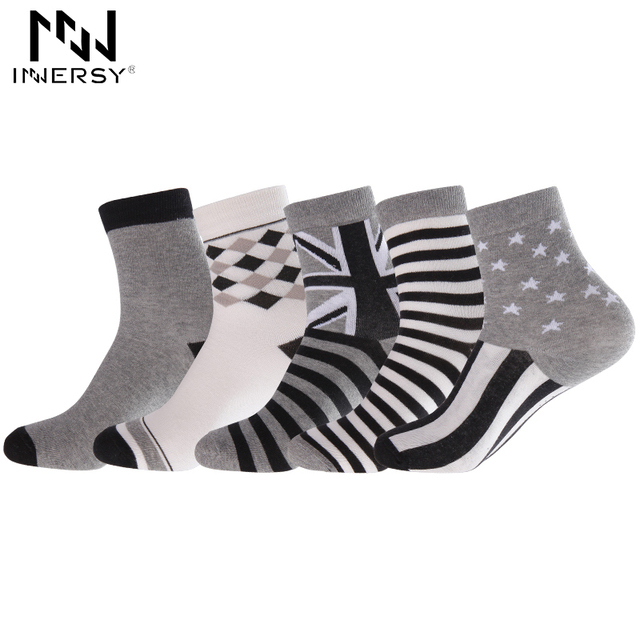 Innersy 2017 Brand 5Pcs/lot Socks Thin Socks Long Deodorize Socks Cotton Boy's Socks Casual Wear Colorful Stocking Pattern Men