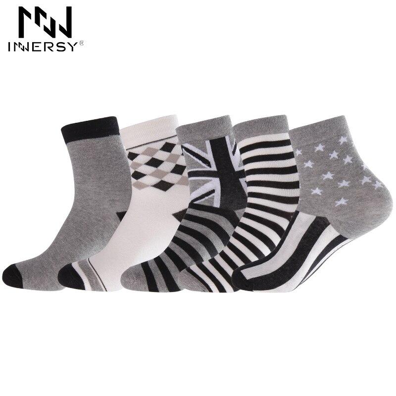 Innersy 2017 Brand 5Pcs/lot Socks Thin Socks Long Deodorize Socks Cotton Boys Socks Casual Wear Colorful Stocking Pattern Men