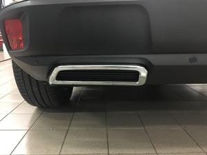 Image 1 - لبيجو 3008 5008 2017 2018 سيارة التصميم الخارجي حلية ABS خلفية من الكروم العادم الخمار نهاية الأنابيب ملصقا غطاء 2 قطعة