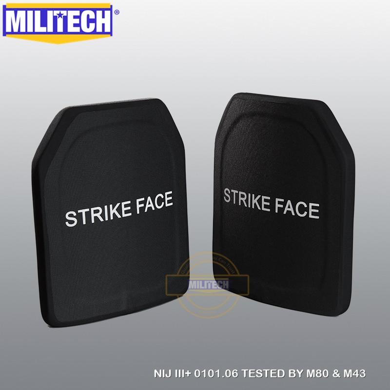 Ballistic Panel Bulletproof Plate NIJ Level III+ 3+ Pure PE 10x12 Inches Two PCS M80 & AK47&M193 Body Armor--Militech