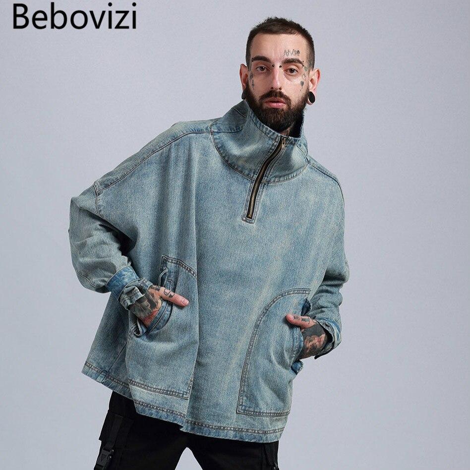 Veste Rétro Europe En Denim Streetwear Hip De L'eau Lavage Jacket Lâche Haute À Tendance 1 col Hommes Épaule Hop TRwaqdxRS