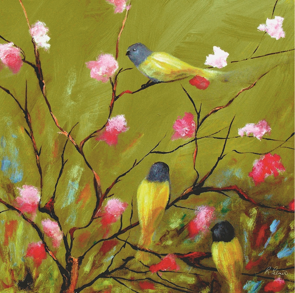 Birds on the tree full of flowers quality handpainted oil painting ...