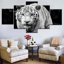 Wall Art HD Prints Pictures Framework 5 Pieces Modular Blue Eyes Tiger Canvas Paintings Home Decor Black And White Animal Poster