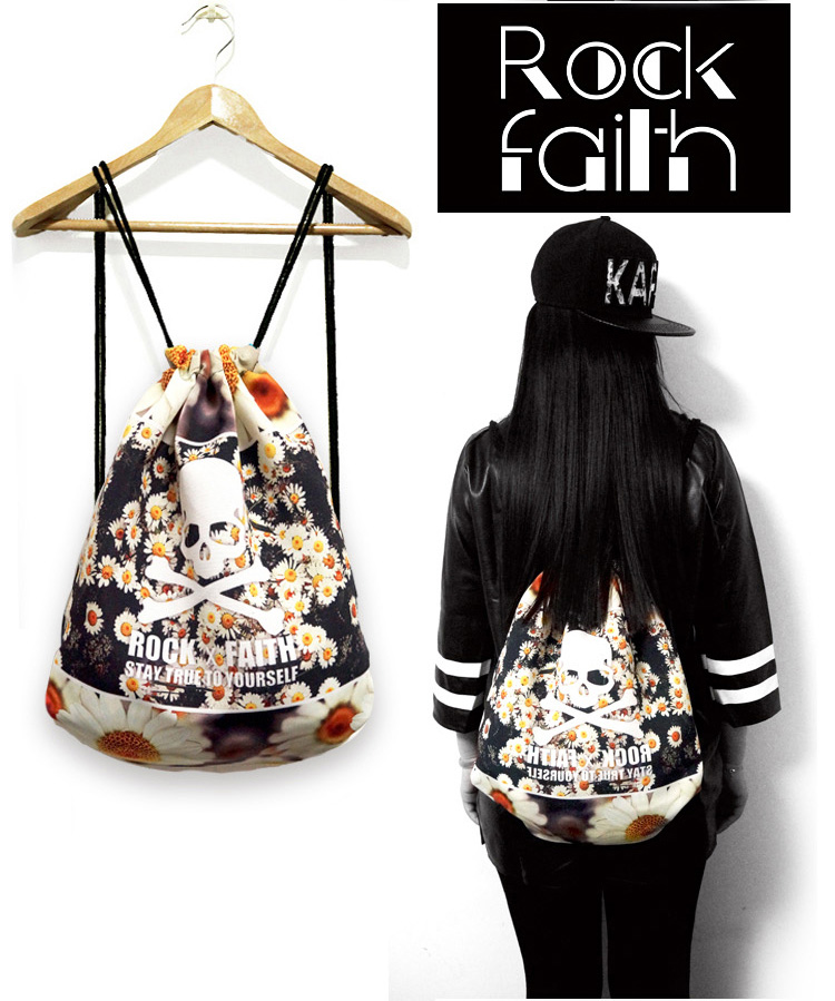 Rock Faith Women Drawstring bag Canvas Backpack Cute Rucksack ...