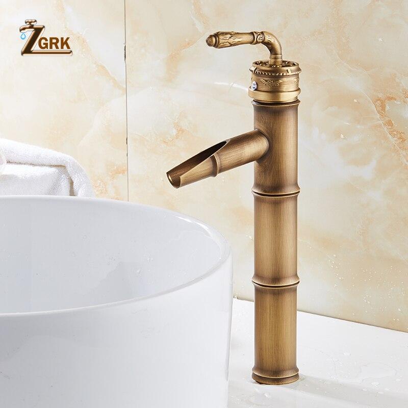 ZGRK Bathroom Basin Faucets Bamboo faucet Hot Cold Mixer Taps Classic Single Handle Antique Brass Deck