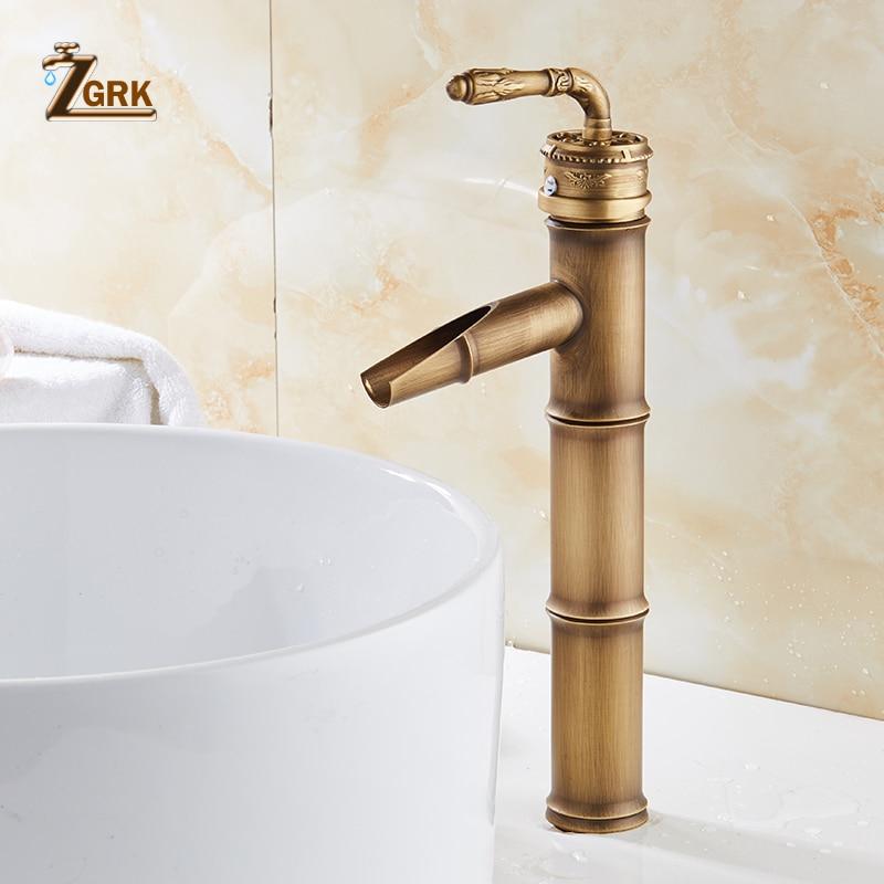 ZGRK Bathroom Basin Faucets Bamboo faucet Hot Cold Mixer Taps Classic Single Handle Antique Brass Deck Mounted SinkZGRK Bathroom Basin Faucets Bamboo faucet Hot Cold Mixer Taps Classic Single Handle Antique Brass Deck Mounted Sink