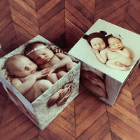 Personalized Photo Block Set Of 2 Monogram Photo Gift Photo Wood Cube Picture Gift Personalized Baby