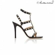 2017 лето высокое качество марка дизайн женщины сандалии Моды Заклепки тонкие ремни летняя обувь высокие каблуки туфли женщина 34-41