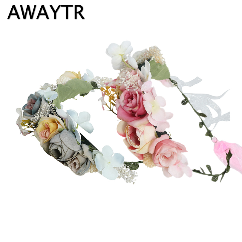 AWAYTR Fashion Romantic Boho Flower Crown Wedding Hair Accessories Floral Headband For Girls Seaside   Headwear   For Women