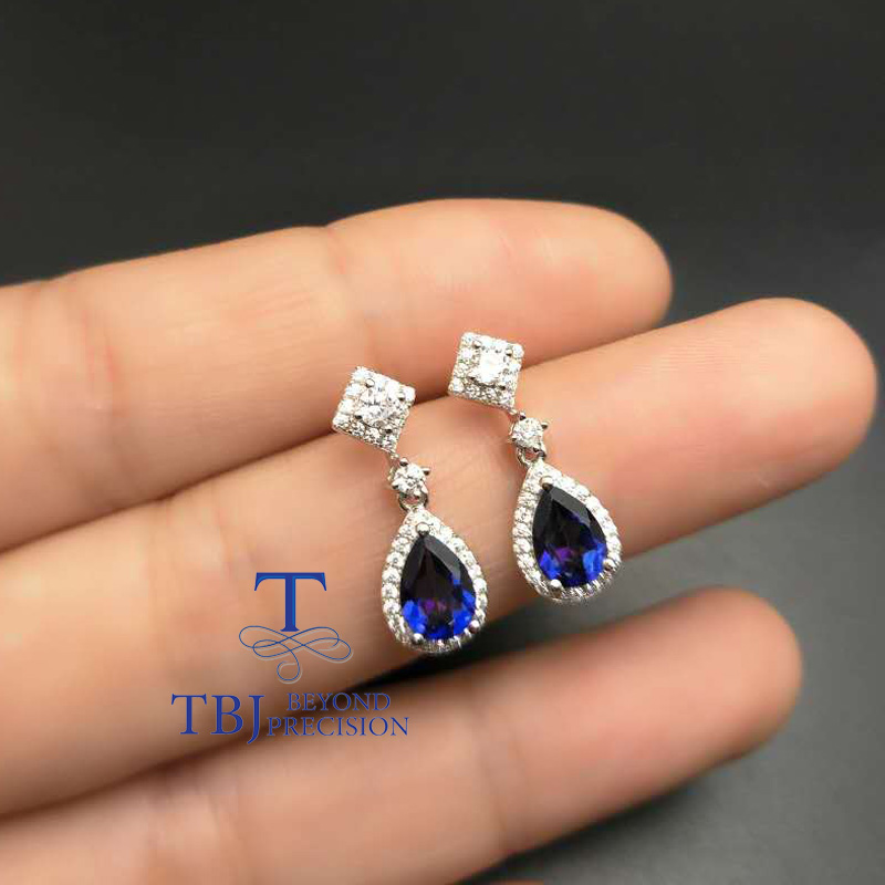 TBJ,Stylish elegant earring in 925 silver withcoated tanzanite color topaz , nice earring design for ladies with gift box