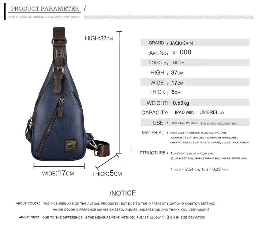 f48cb5f4e579 JACKKEVIN Brand Quality Assurance CHEST BAG MEN Anti-theft Magnetic ...
