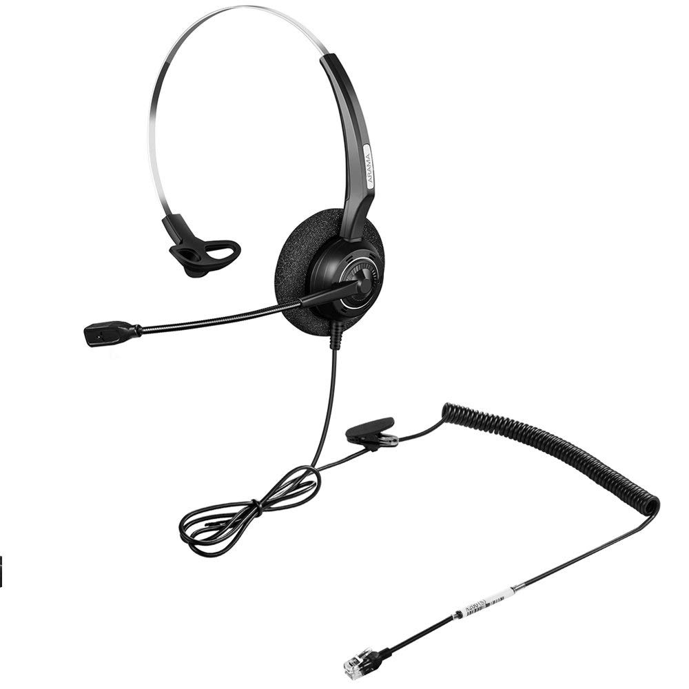 Wantek Arama Telephone Headset w/Noise Canceling Mic for Aastra Adtran  Alcatel Lucent NEC AVAYA Plantronics Landline Deskphones
