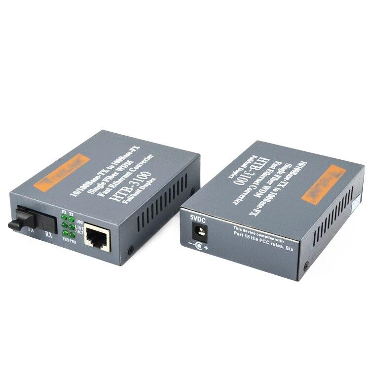 Htb 3100ab Optical Fiber Media Converter Fiber Transceiver Single Fiber Converter 25km SC 10 100M Singlemode