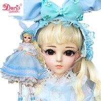 24 24 inch Full Set + Makeup Alice 1/3 Doris BJD Doll SD Dolls 60cm 18 jointed dolls Toy Action Figure Gift for Girls Kids