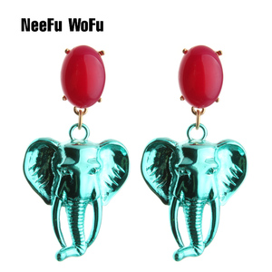 Женские серьги-подвески NeeFu WoFu, большие серьги из натурального камня, серьга слон, голова льва