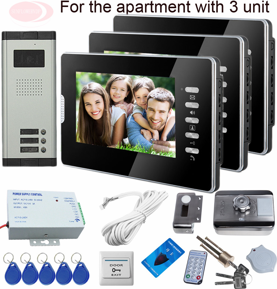 Sunflowervdp Doorphone For Video Intercom Rfid Security Door Lock System Videophone For 3 Apartments 7inch Color Indoor Display sunflowervdp 2 call buttons intercom for the house video door phone for 2 apartments floors videophone with home wire video call