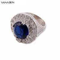 VANAXIN Big Rings 925 Silver Round Simulated Emerald Red Green Blue Cubic Zircons Crystal Ring Wedding Ring Men Punk 925 Fashion