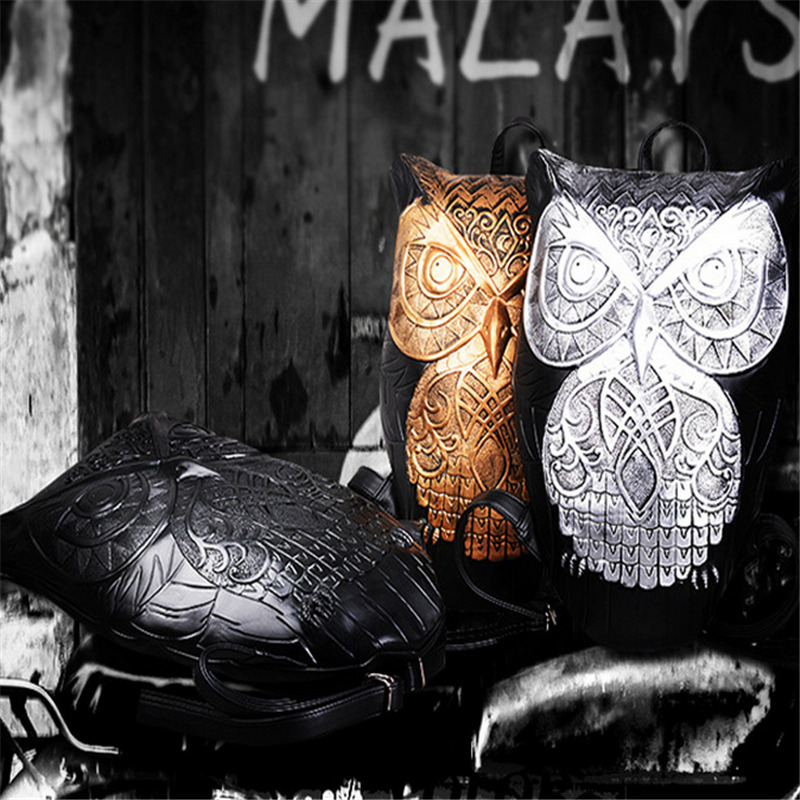 Mode personnalité Totem Animal hibou imprimer femmes voyage sac à dos Punk marée 3D Animal Type unisexe ordinateur sac à dos - 5