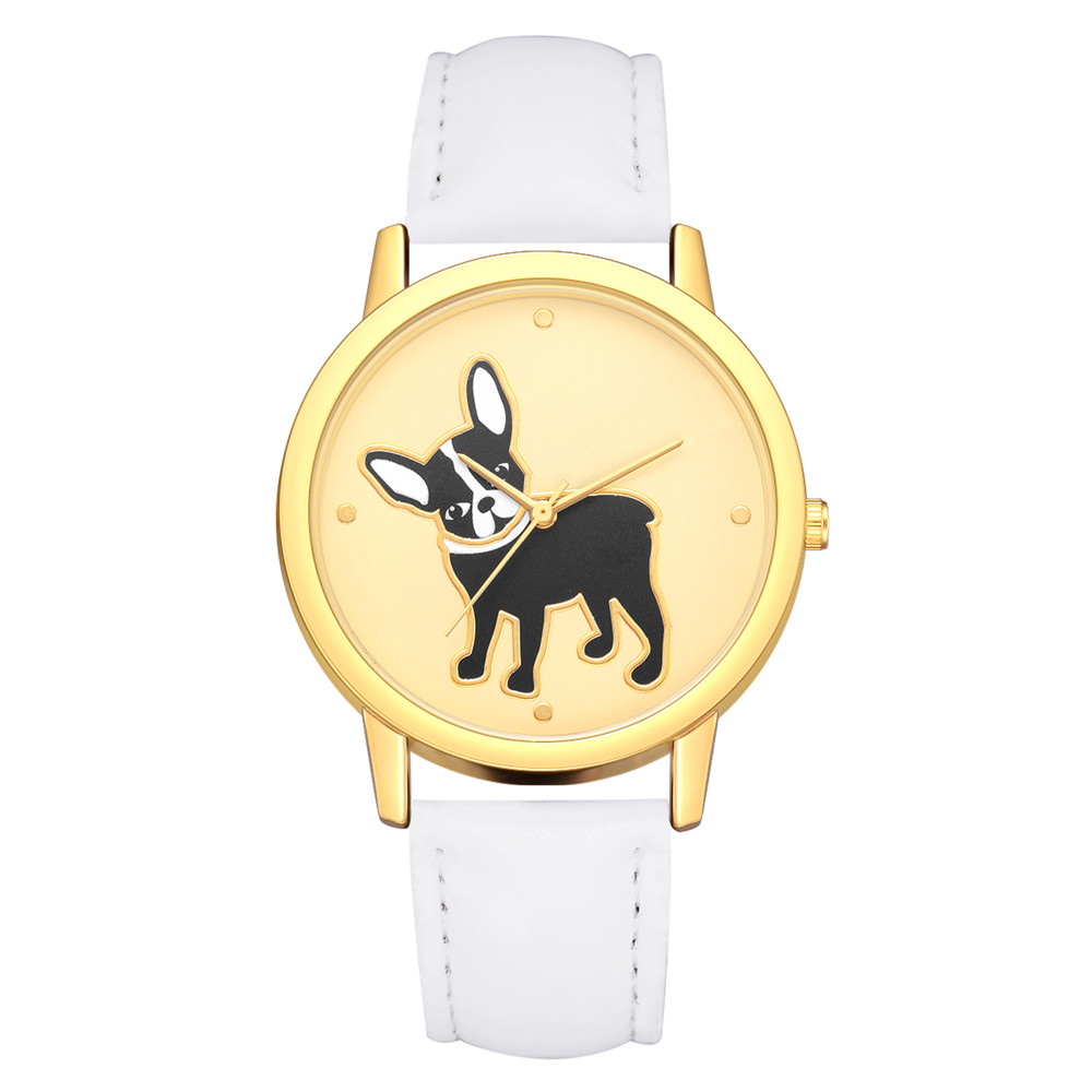 Fashion Bulldog Print Women Watches Round Dial Analog Quartz Wrist Watch Ladies Clock Casual Leather Watch Gift Reloj Mujer #B