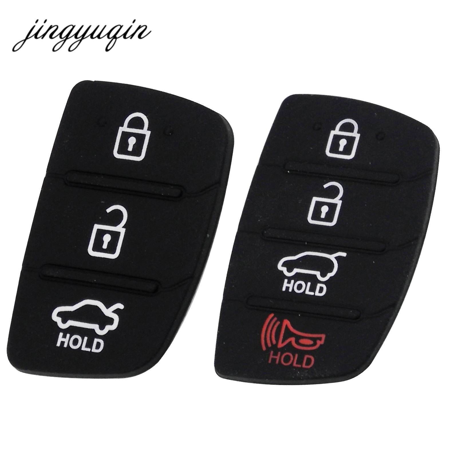 jingyuqin 10pcs lot Rubber Car Key Button Pad For Hyundai 3 4 Buttons Key Shell Blank Case Auto Parts Replacement