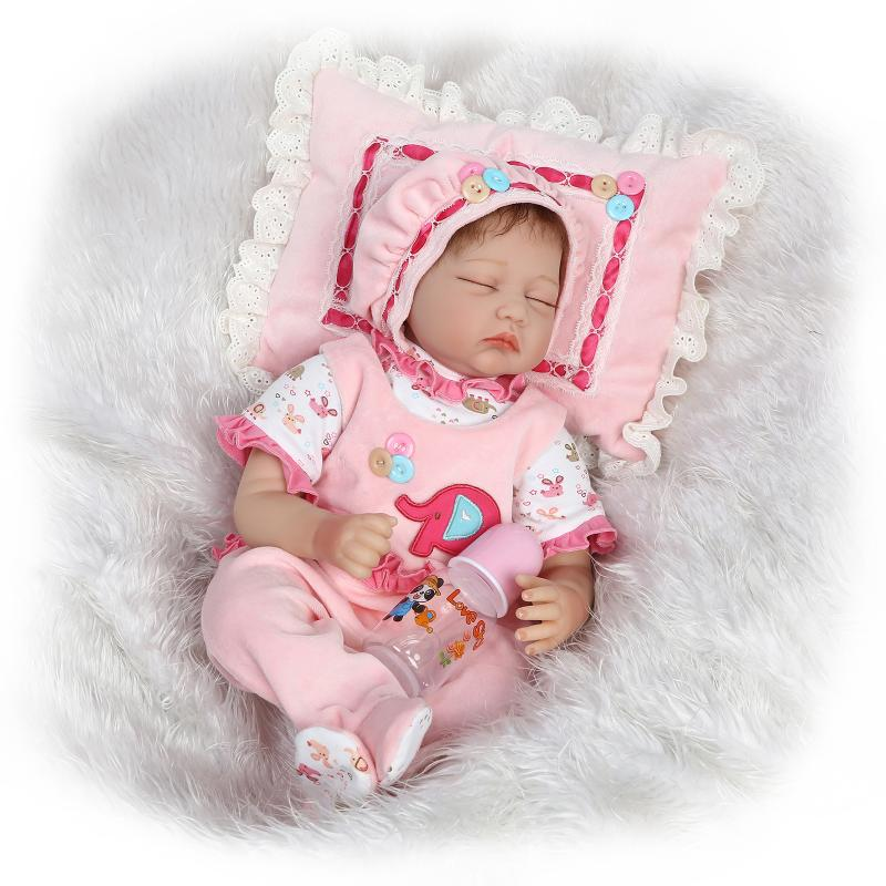 все цены на Soft Body Silicone Reborn Baby Dolls Toy Lifelike Exquisite Sleeping Newborn Girls Babies Collectable Doll Birthday Gift Present