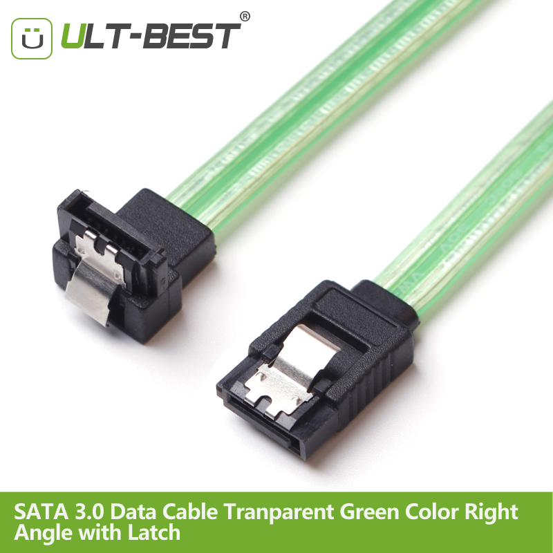 ULT-Best 50CM SATA 3.0 III SATA3 7pin Data Cables 6Gb/s SSD Right Angle Cable HDD Hard Disk Drive Cord Cabo Transparent Green корпус для hdd orico 9528u3 2 3 5 ii iii hdd hd 20 usb3 0 5