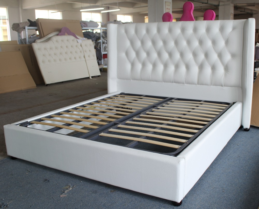 Soft genuine/synthetic leather fabric bed of European headboard ...