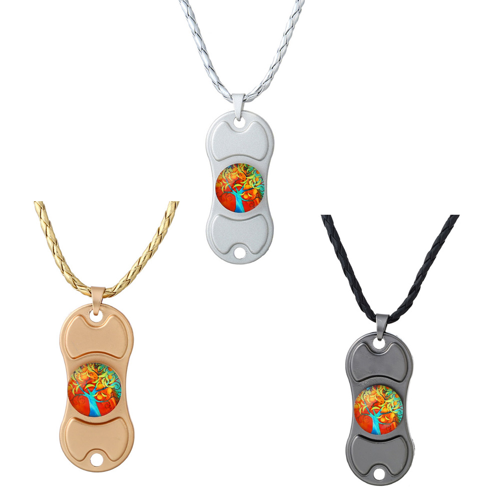 1 Pcs Colorful Creative Metal Two-Spinner Necklace Fidget Metal Hand Spiner Statement Chocker Necklace
