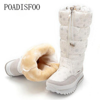 POADISFOO 35 43 Women Boots Plush Warm Snow Boots Ladies Winter mid calf Boots Waterproof Snow Botas zipper warm boot JSH M0767