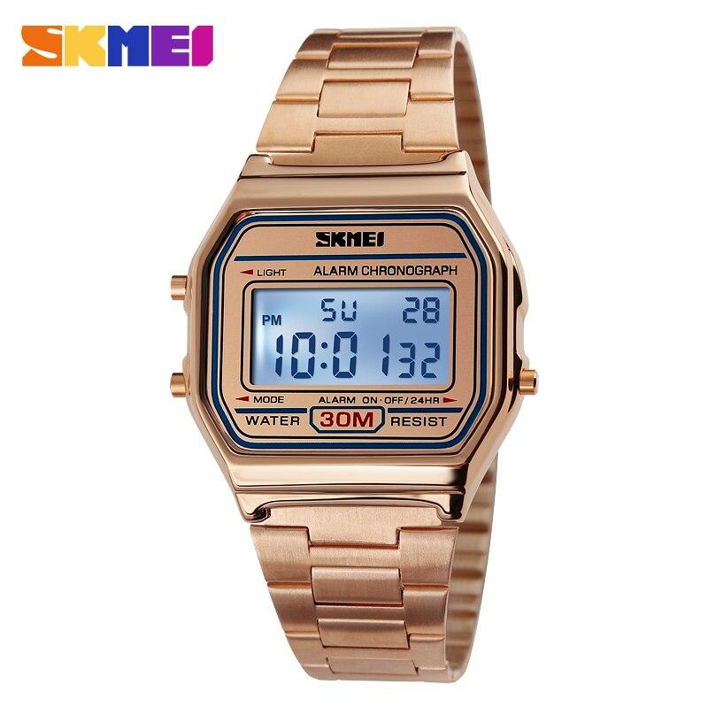 SKMEI Heißer Männer LED Digitaluhr Sport Uhren männer Relogio Masculino Uhren Edelstahl Militärische Wasserdichte Armbanduhren
