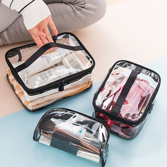 À prova d' água de Banho De PVC Transparente Saco de Cosmética Mulheres Compõem Caso Organizador Lavagem de Viagem Zipper Maquiagem Beleza Produtos de Higiene Pessoal Kit De Armazenamento