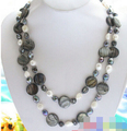 1155 gray coin shell white black freshwater pearl necklace