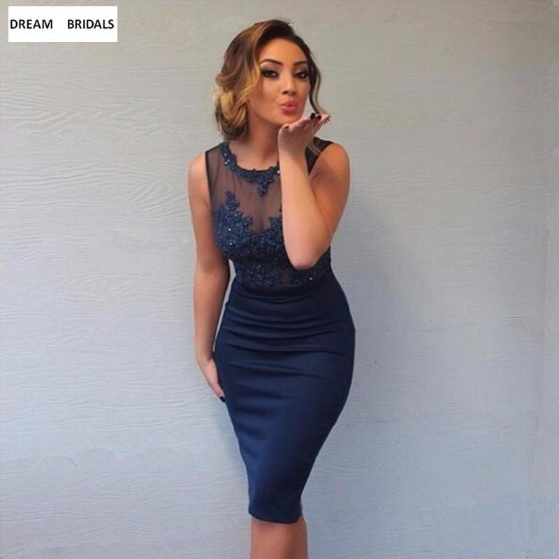 Sexy See Through Neck Navy Blue Knee Length Cocktail Dresses 2019 Custom Made Lace Appliques Vestido De Festa