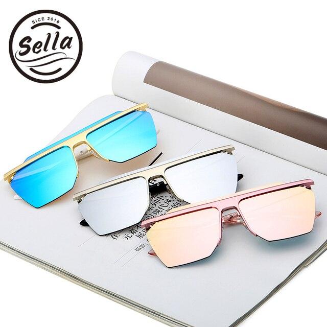 757bb6996 New Summer Style Men Women Square Sunglasses Colorful Mirror Lens  Semi-Rimless Conjoined Fashion Sun Glasses