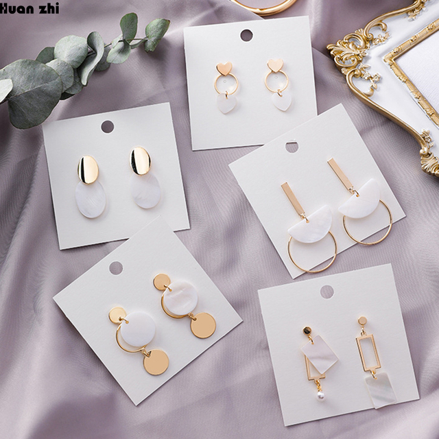 HUANZHI 2019 Korean New Gold Metal geometric Round Circle Square Love Heart Shell Drop Earrings for.jpg 640x640 - Love Heart Shell Drop Earrings for Women