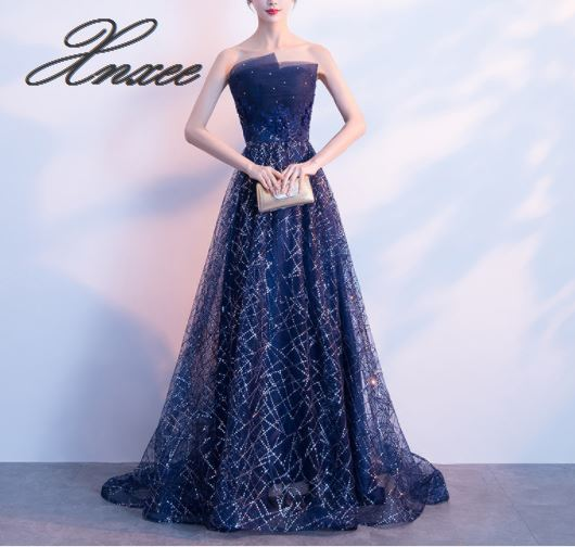 2019 new dignified atmosphere long paragraph noble and elegant star sky slim dress