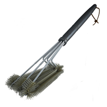 Rugged Grill Cleaning Brush BBQ Tool 3 Stainless Steel Brushes in Provides Effortless Accessories