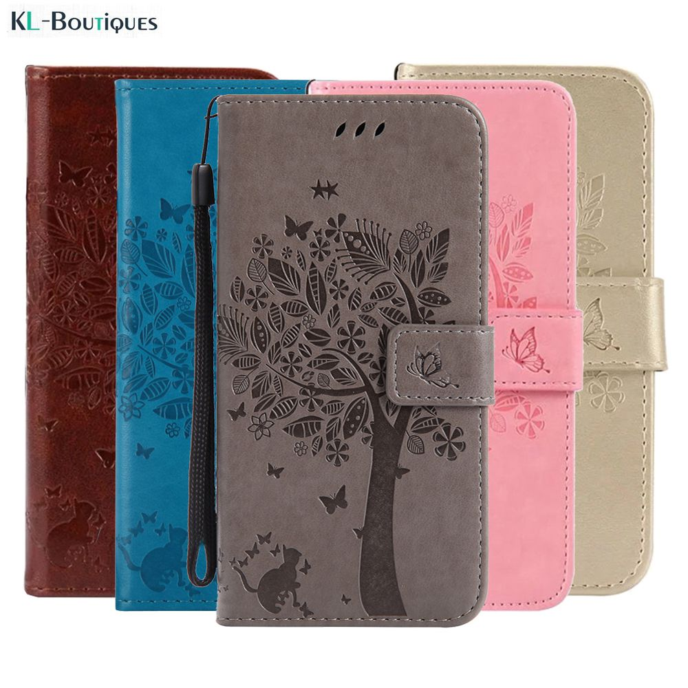 3D Tree Phone Case for Microsoft Nokia Lumia 435 532 550 630 635 640 650 Luxury Wallet Flip Leather Stand Cover Cartoon Cat Capa