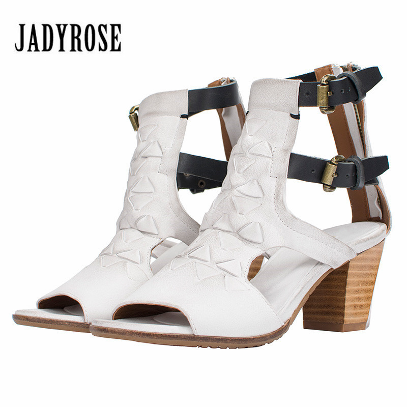 Jady Rose 2018 New White Women Summer Gladiator Sandals Female Peep Toe Straps Chunky High Heel Sandal Women Pumps Shoes Woman new women sandals low heel wedges summer casual single shoes woman sandal fashion soft sandals free shipping