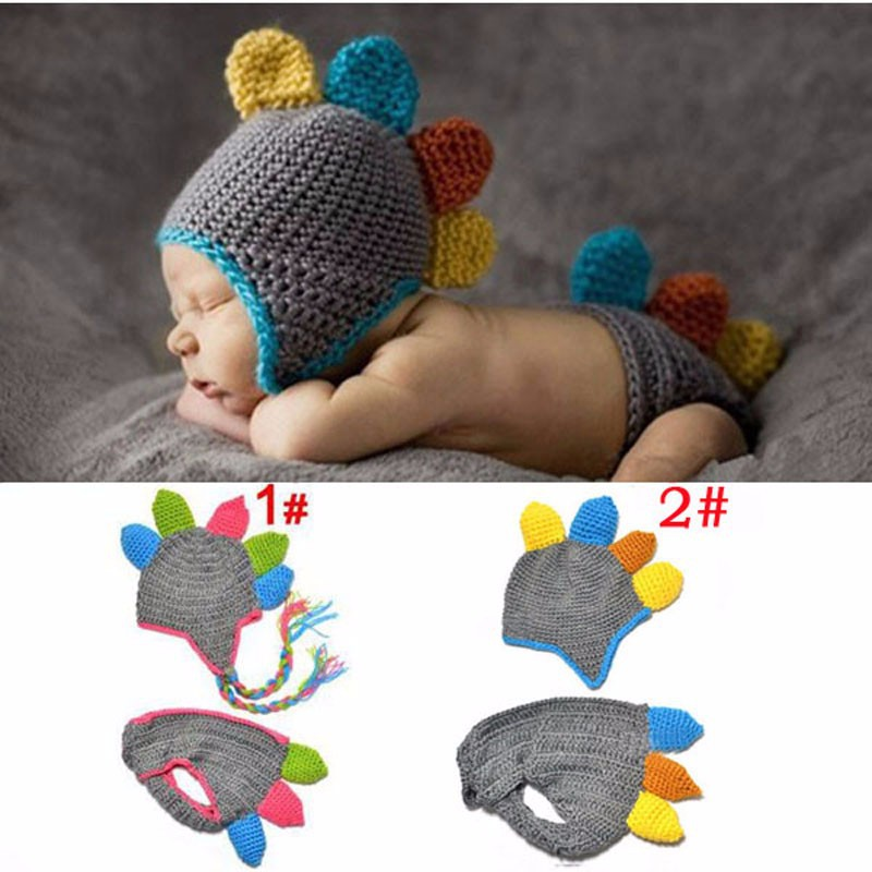 Handmade Crochet Baby Hat And Diaper Cover Photography Prop Dinosaur