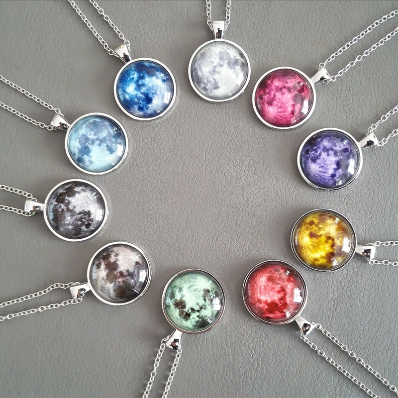 Pendant Jewelry Eclipse Necklace Lunar Glass Glowing Full-Moon Dome