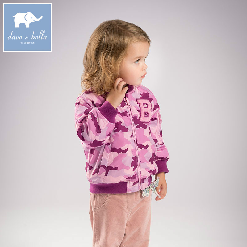 DB6329 dave bella winter infant baby girls fashion Camouflage jacket children lovely coat kids high quality outerwear ваза настольная jcq 6329 jcq 6329
