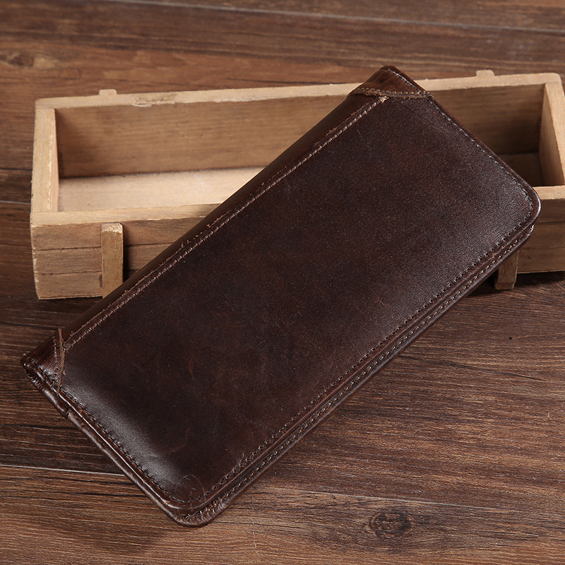 High Quality Genuine Leather Men Long Wallet ID/Credit Card Cash Coin Pocket Natural Cowhide Handy Clutch Money Bag Bifold Purse