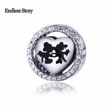 Endless Story Original 925 Sterling Silver Charm Mickey Minnie Kiss Black Enamel Beads Fit Pandora Bracelet Jewelry Making