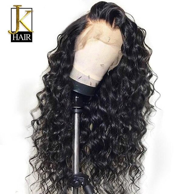 Pelucas de pelo humano Frontal de encaje rizado para mujeres Color negro Peluca de encaje brasileño Frontal desplumado extremo completo puede hacer 360 círculo Bun JK