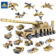 цена на KAZI 16Pcs/lot Military Army Weapon Super Tank Gun Building Blocks Sets Creator Bricks Educational Toys for Children