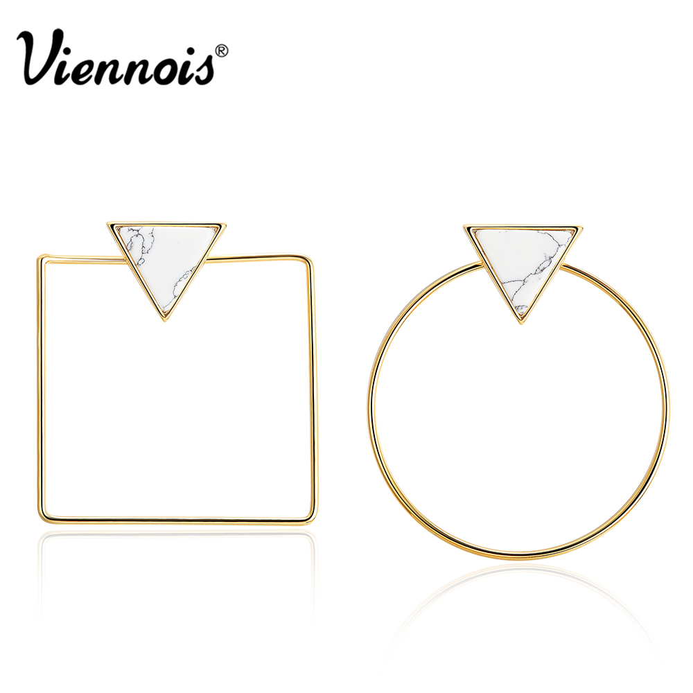 Viennois Gold Color Geometric Large Stud Earrings for Woman Triangle Artificial Stone Square Round Asymmetric Earrings gold big circle geometric statement stud earrings