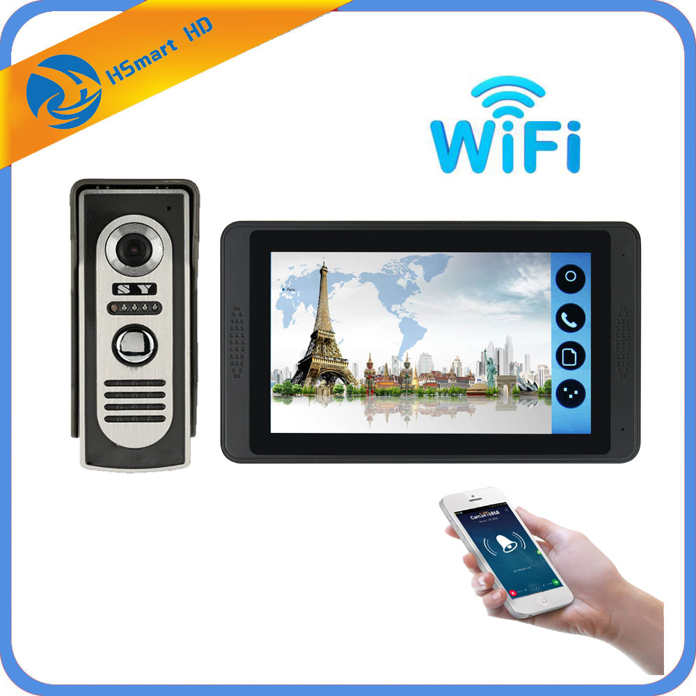 7 Inch Wireless/Wifi Smart IP Video Doorbell Intercom System ,1xTouch Screen Monitor With Wired Door Phone Camera