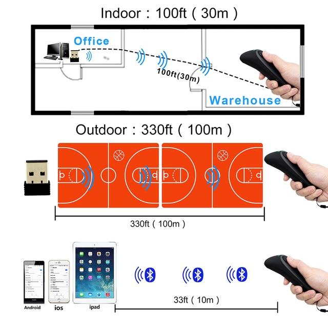 2D Bluetooth Wireless Barcode Scanner,Symcode USB 2.4G Wireless Bluetooth Barcode Reader with Charge Base 5